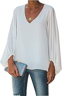 Botanmu Women's Plus Size Loose Casual Sleeve Chiffon Top T-Shirt Blouse Long Sleeve Chiffon Blouses T Shirt 4 Colors