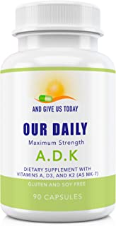Our Daily Vites ADK Physician Formulated Vitamins A1, D3 & K2 (as MK7) Organic Ingredient . Bone, Heart & Immune System Su...