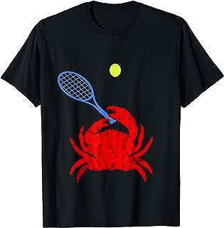 Red Crab Tennis Player Tennis Racquet Shellfish T-Shirt