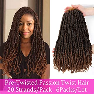 6Packs(20 Strands/Pack) Pre-Twisted Passion Twist Crochet Braids 18 Inches T30 Pre-Looped Daisylove Pre-made Bohemian Curly Hair Water Wave Synthetic Crochet Braiding Hair Extensions