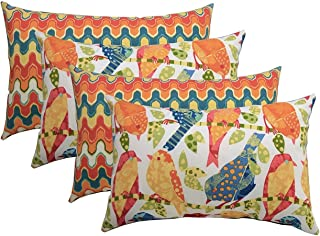 Set of 4 Indoor / Outdoor Decorative Lumbar / Rectangle Pillows - 2 Ash Hill Orange Blue Yellow Garden Birds & 2 Flame Stitch