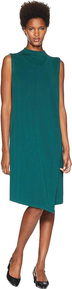 Tencel Ponte Mock Neck Wrap Dress