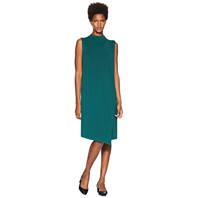 Eileen Fisher Tencel Ponte Mock Neck Wrap Dress (Pine) Women