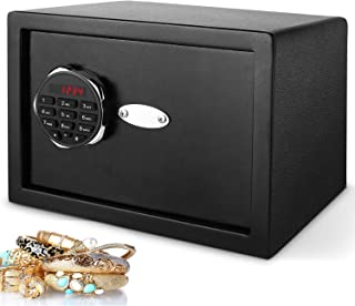 Himimi Digital Home Security Safe Box,Fireproof Electronic Steel Safe with Keypad,Wall with Double Industrial Insurance Lock,Excellent for Jewellery Money Valuables and Other Privacy Items (Black)