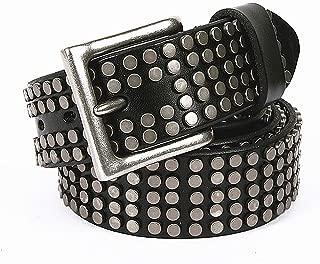 Punk Belt Silver Buckle Punk Rock Bullet Belts Leather Studded Belt Casual Cowboy Belts for Jeans for Women Men (Color : Black, Size : 105cm)