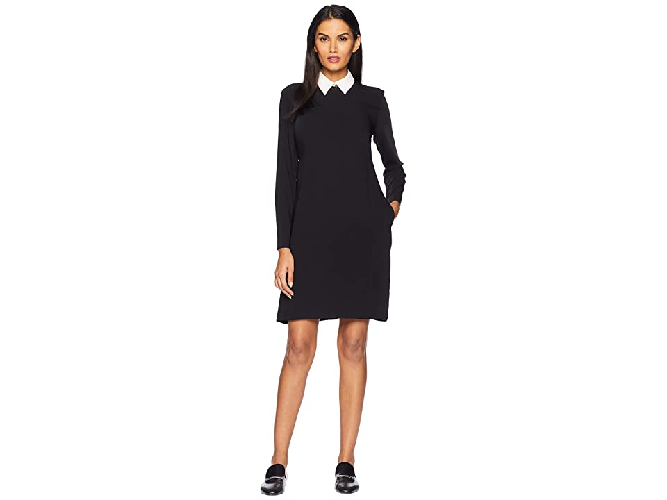 LAUREN Ralph Lauren Layered Crepe Dress (Polo Black) Women