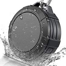 Bluetooth Speaker Wireless Portable Shower Outdoor Waterproof for Hiking Travel Hands Free Call with Mic Connect with iPhone Android (Gray)