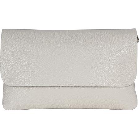 AmbraModa GLX11 - Damen Umhängetasche, Clutch, Handytasche aus echtem Leder mit abnehmbarem und verstellbarem Schultergurt, geeignet für Handys und Tablets bis zu 7 Zoll