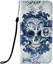 Asus ZenFone 5 Lite ZC600KL Case, Zenfone 5Q Case,PU Leather Wallet Folio Heavy Duty Protection Phone Cover with Credit Card Slot WristStrap Magnetic Closure Kickstand Accessories Ghost Skull
