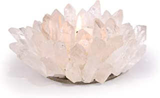 KALIFANO Natural Quartz Cluster Crystal Tealight Candle Holder - Decorative High Energy Geode with Healing Effects