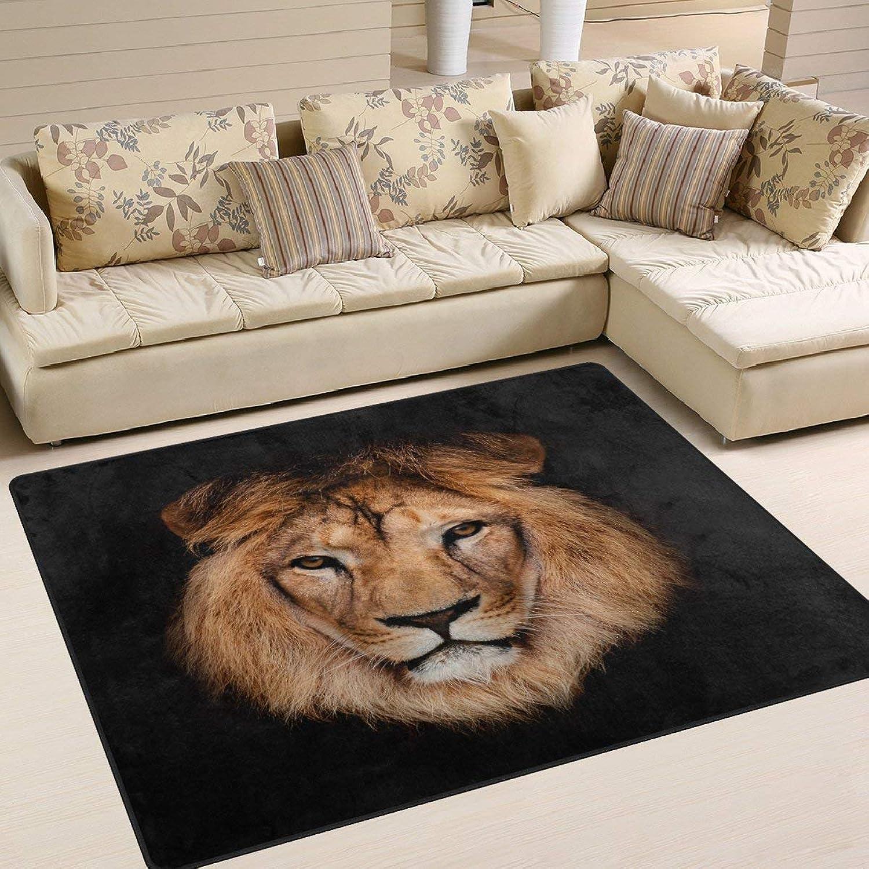 Hipster Lion Head Black for Floor Mat Rug Indoor Front Door Kitchen and Living Room Bedroom Mats Rubber Non Slip