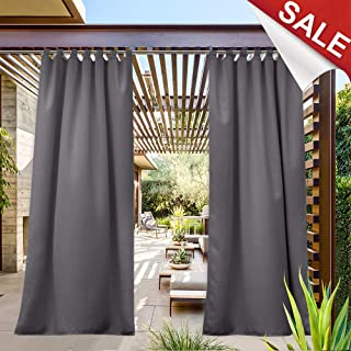 NICETOWN Outdoor Patio Curtain Waterproof 84 Long, Tab Top Heavy Weight Water Resistance Sunblock Window Treatment,Keep Privacy for Gazebo/Dock (1 Piece, W52 x L84 inch, Grey)