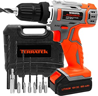 Terratek Cordless Drill Driver Set 18V/20V-Max Li-Ion Combi Drill in Carry Case, Electric Screwdriver, Accessory Kit, LED ...