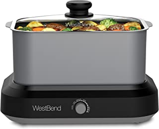 West Bend 87906 Large Capacity Non-Stick Versatility Slow Cooker with 5 Different Temperature Control Settings Dishwasher ...