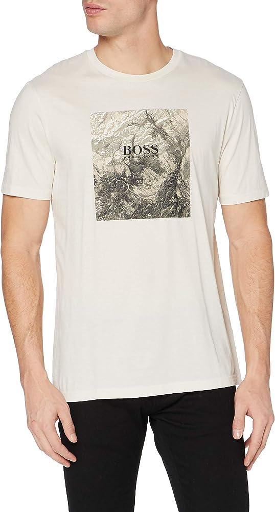 Boss,maglietta, t-shirt a maniche corte per uomo,100% cotone 50446474B