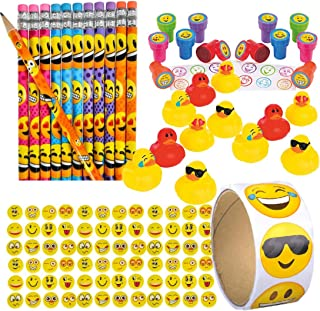 Emoji Themed Birthday Party Supplies for Kids - Bulk Party Favors (12 Pencils, 12 Stampers, 12 Mini Rubber Ducks, 72 Erasers, 100 Stickers) - Emoji School Supplies - Emoticon Goody Bag Fillers - Teacher Classroom Prizes for Students