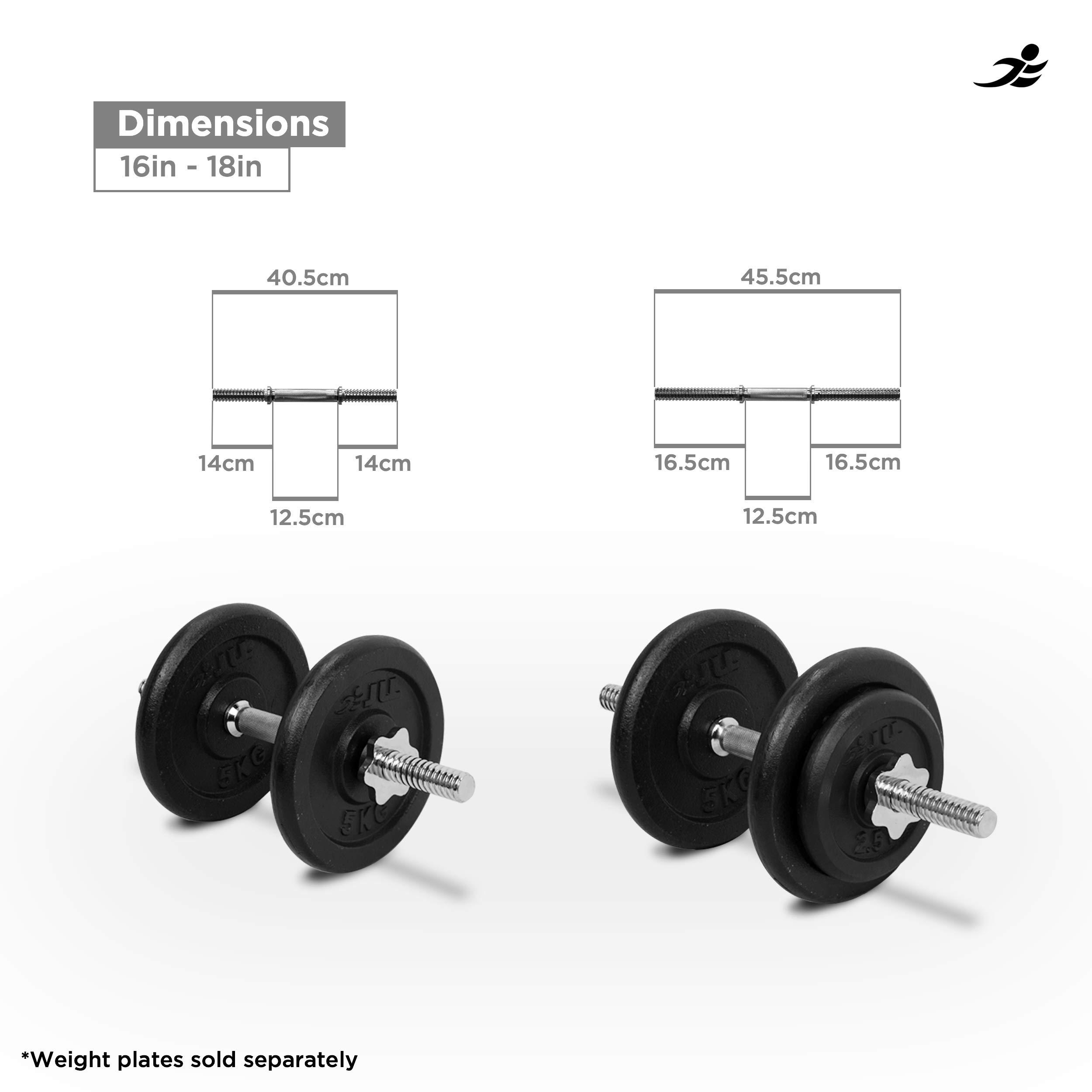 JLL® - Barra para pesas (acero cromado, 45 cm, tamaños 121 cm, 121 ...