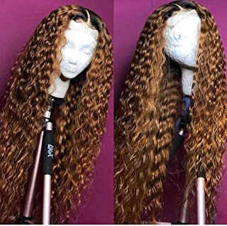 Andria Curly Hair Lace Front Wigs Dark Root Ombre Red Brown Color Two Tone Synthetic Long Wigs Heat Resistant Fiber Hair for Black Women 26 Inch Honey Blond Wigs