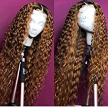 Andria Curly Hair Lace Front Wigs Dark Root Ombre Red Brown Color Two Tone Synthetic Long Wigs Heat Resistant Fiber Hair f...