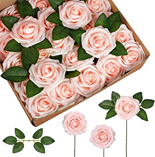 InnoGear Artificial Flowers, 50 Pcs Faux Flowers Fake Flowers Blush Roses Perfect for DIY Wedding Bouquets Centerpieces Br...