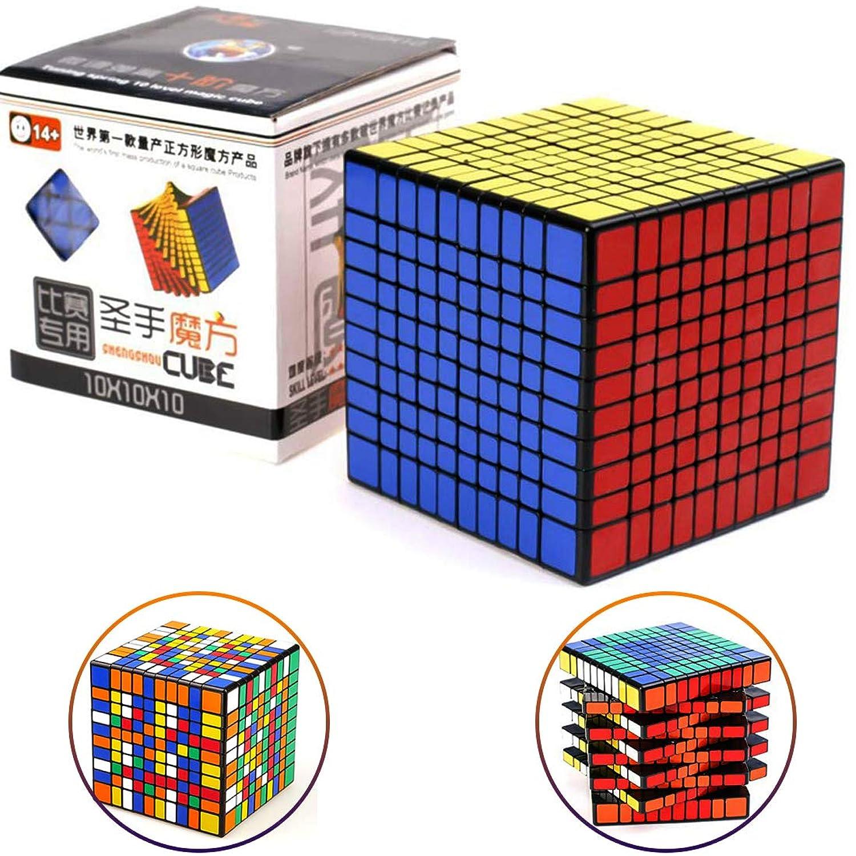 Shengshou ルービックキューブ 10x10x10 ブラック 立体パズル スムーズ回転 ストレス解消 子供マジック 競技用 回しやすい 持ち運び可能 子供脳トレ 知育玩具