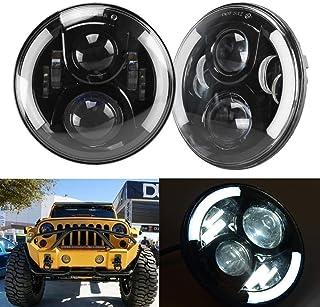 Suparee 7 inch runde 50W LED Fahrlicht Scheinwerfer mit DRL & Blinker & Halo Ring Winkel Augen