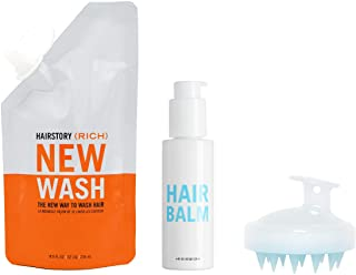 New Wash (RICH) Kit, Hair Cleanser & Conditioner, 8oz Pouch, 4oz Hair Balm + Scalp Brush, Extra Moisturizing, Improves Sof...