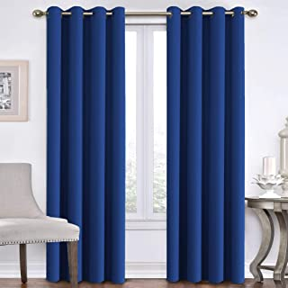 Blackout Curtains Panels for Patio Door - Energy Saving Thermal Insulated Solid Ring Top Blackout Window Drapes Draperies for Living Room Bedroom (Two Panels, 52 x 96 Inch, Royal Blue)