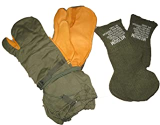 US Military G.I. Leather Trigger Finger Cold Weather Mittens Size Medium