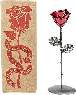 Rosa Eterna de Hierro Forjado Roja y Plateada con peana - Forjada a Mano