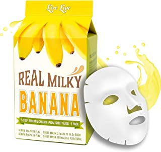 LOVLUV Real Milky Banana Face Masks, K Beauty Moisturizing and Hydrating Facial Sheet Set, Two-Step Skin Care Essence [5 P...