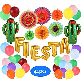 Mexican Fiesta Party Decorations, Fiesta Cactus Theme Party Supplies, Cinco De Mayo Decorations Pack with Baby Shower Fiesta Foil Balloon