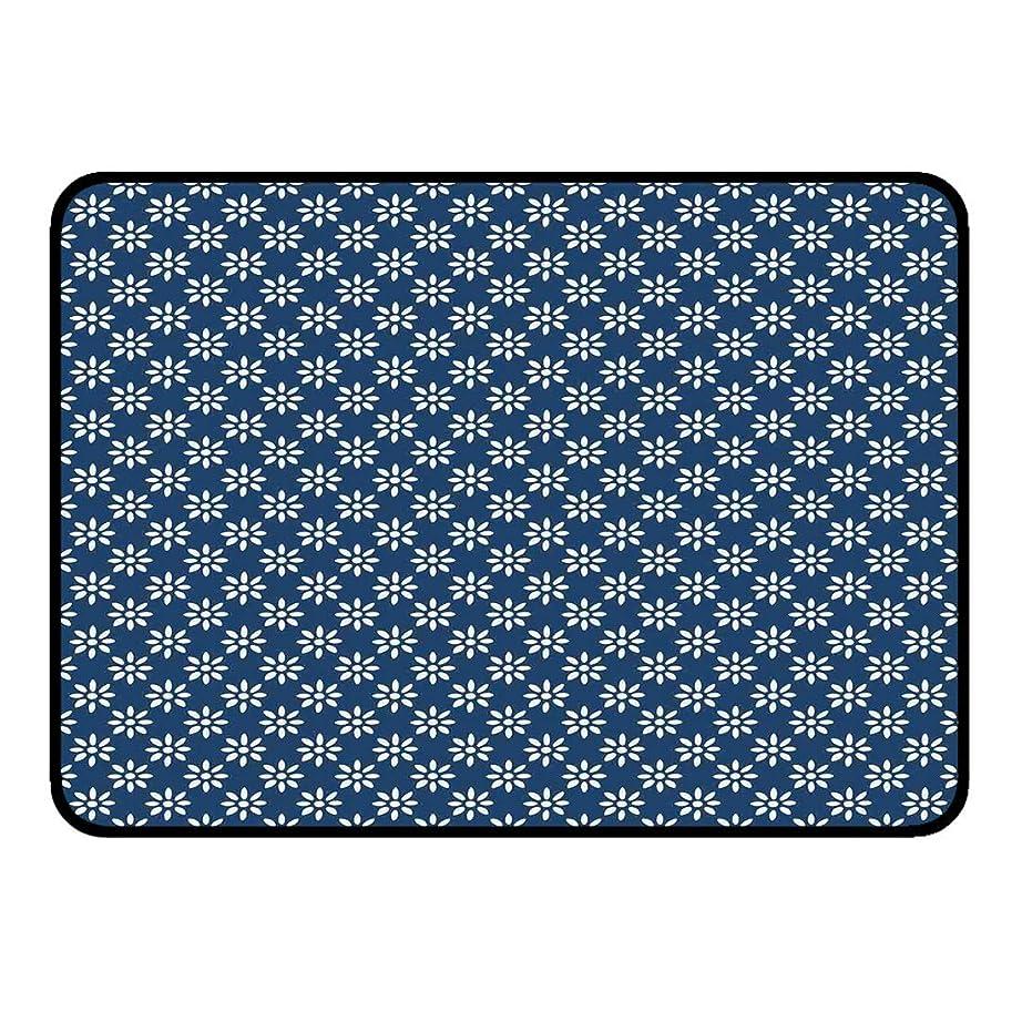 アフリカ人速いまあルームフロアマットドアマット屋外玄関玄関マット40x60 Cmオランダキッチンバスルームシャワーバスエリアラグ、青色の背景に手描きスタイルの白い花クラシックデルフトパターン、ネイビーブルーとホワイトノン 75x45cm