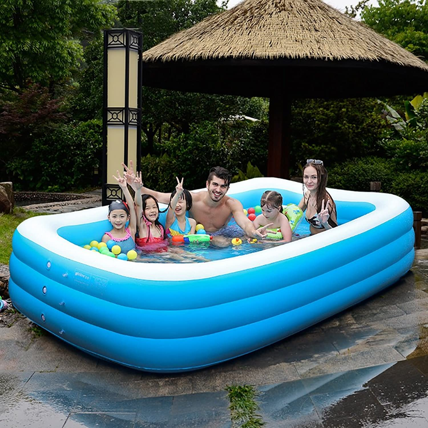 L&Y Bathtub Oversized Inflatable Pool Family Swimming Pool (Applicable  7-9 people) (Size   A)