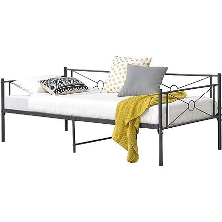 [en.casa] Struttura Divano a 2-3 Posti di Seduta Letto Singolo in Acciaio 90 x 200 cm Sofa Decorativa in Metallo - Grigio Scuro