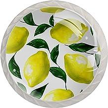 4 STKS Glas Deurknoppen Ronde Trek Handvat met Schroef voor Lade Kast Meubilair Keuken Home Decorating Citroen