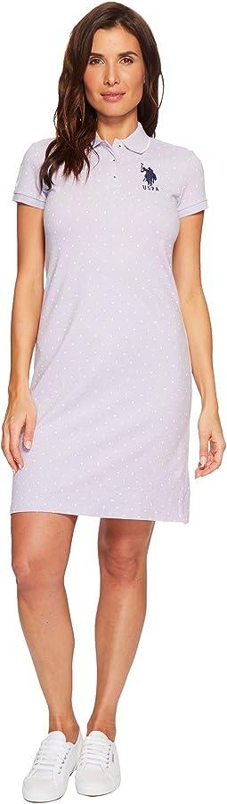 Stretch Pique Printed Polo Dress
