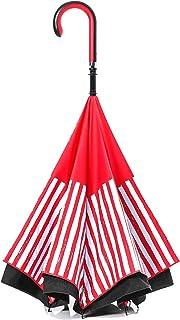 【CARRY saKASA(キャリーサカサ) CityModel】逆折り式傘 逆さ傘 テフロン加工 (レッド/ブラック 柄入り)