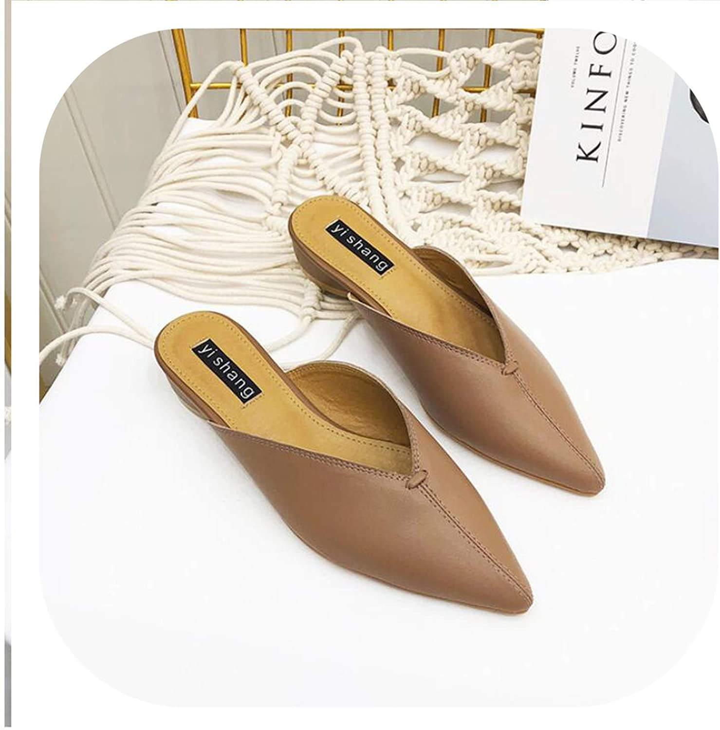 HANBINGPO Woman Low Heels Slippers Casual Pointed Toe Slides Slip on Loafers Leather shoes