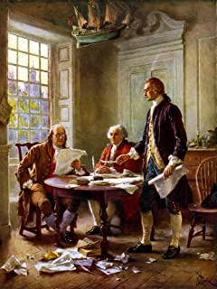 Posterazzi Digitally restored vector painting of Benjamin Franklin John Adams and Thomas Jefferson writing the Declaration of Independence. Poster Print, ((8 x 10)