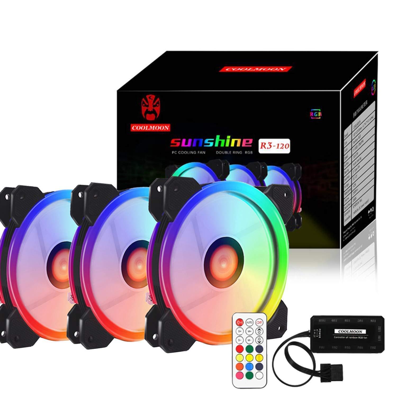 Pack de 3 ventiladores de refrigeración RGB LED para CPU, 12 cm, carcasa para ordenador, ventilador