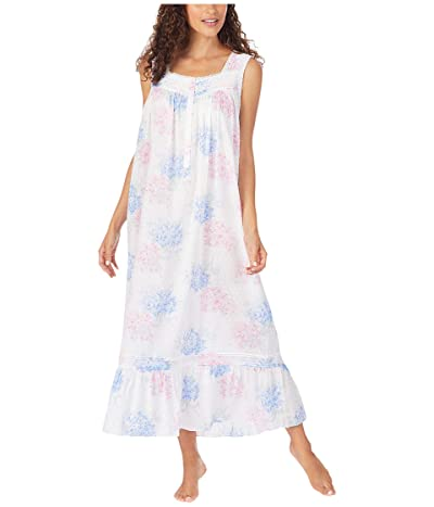 Eileen West Cotton Swiss Dot Woven Sleeveless Ballet Nightgown (White Ground Blue/Pink Hydrangea Floral) Women