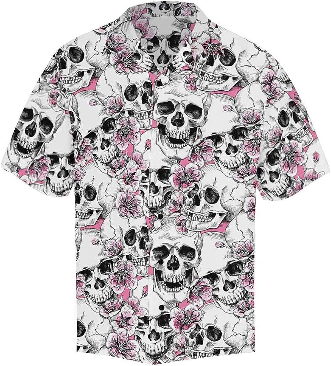 InterestPrint Men's Casual Button Down Short Sleeve Pirate Skull Blood Hawaiian Shirt (S-5XL)