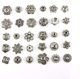 150PCS 8-15mm Wholesale Bulk Lots Silver Charms Tibetan Silver Mixed Tone Flower Bead Caps Hollow Flower Bead Caps for DIY for Necklace Bracelet Jewelry Making