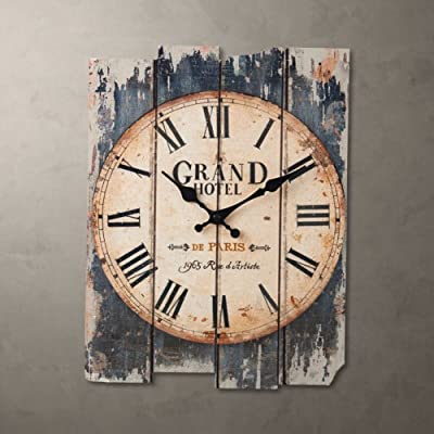 QZY Vintage Wooden Wall Clock, 12 Inch European Style Retro Clock Read For Indoor Decor