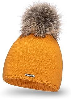 PaMaMi 17504 - Morbido e caldo berretto invernale da donna, lavorato a maglia, con pompon in pelliccia e interno in pile, ...