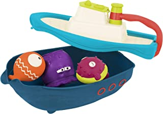 B. toys by Battat-Off The Hook Bath & Beach Toy Boat with Squirting Toys & Hidden Storage Compartment