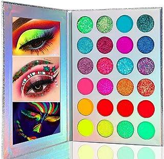 Kalolary Neon Eyeshadow Palette Glow In The Dark, 24 Colors Highly Pigmented Eyeshadow Makeup Palette, UV Glow Blacklight ...