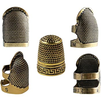 3Pcs Retro Copper Finger Protector Thimble Adjustable Fingertip Thimble DIY Finger Protector Needlework Metal Brass Sewing Thimble Sewing Tools Accessories for Sewing Embroidery Needlework M Size