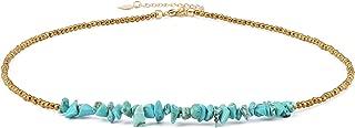 Turquoise Choker Necklace Gold Hematite Beaded Tiny Dainty Minimalist Jewelry for Women 15''